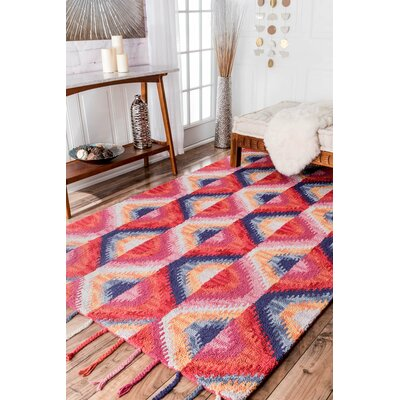 Jarrett Red Hand-Tufted Area Rug Rug Size: 5 x 8