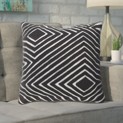 Rieder Cotton Throw Pillow Color: Gray/Black