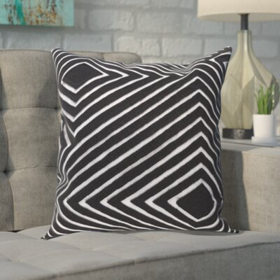 Rieder Cotton Pillow Cover Color: Gray/Black, Size: 20 H x 20 W x 0.25 D