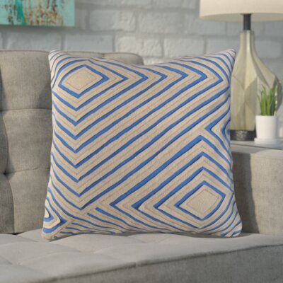 Rieder Cotton Throw Pillow Color: Blue/Brown