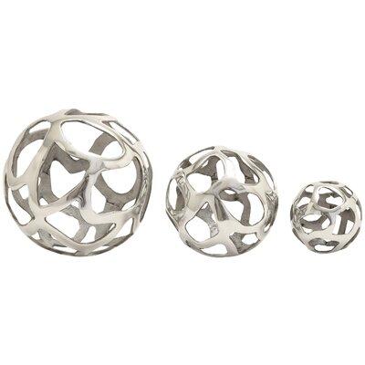 3 Piece Aluminum Decorative Ball Sculpture Set