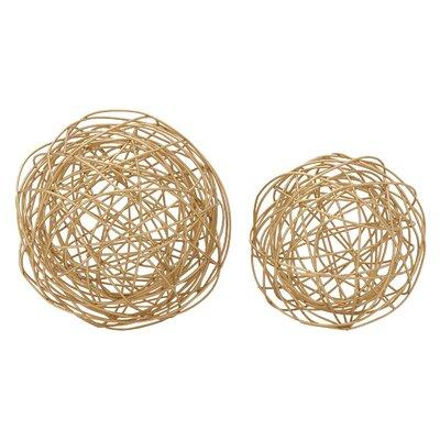 2 Piece Golden Metal Wire Orb Sculpture Set