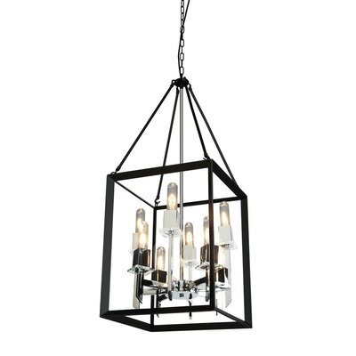 Haught 8-Light Candle-Style Chandelier Finish: Black/Chrome, Size: 36 H x 16 W x 16 D
