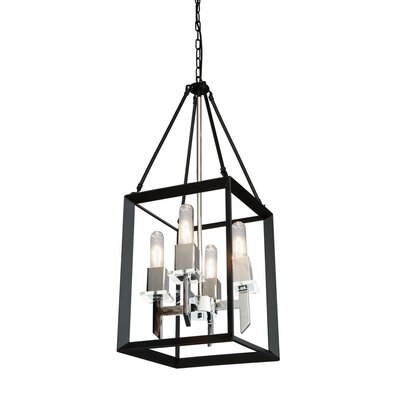 Haught 4-Light Candle-Style Chandelier Finish: Black/Chrome
