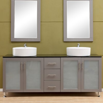 Fraher 60 Double Bathroom Vanity Set Base Finish: Gray