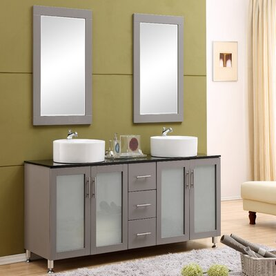 Fraher 60 Double Bathroom Vanity Set with Mirror Base Finish: Gray