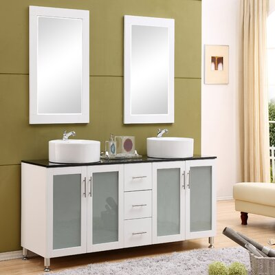 Fraher 60 Double Bathroom Vanity Set with Mirror Base Finish: White