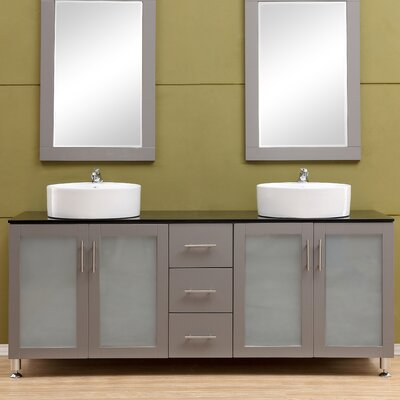 Fraher 72 Double Bathroom Vanity Set Base Finish: Gray