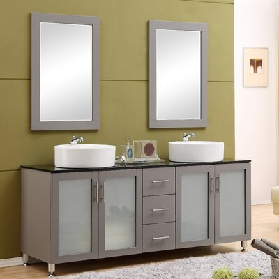 Fraher 72 Double Bathroom Vanity Set with Mirror Base Finish: Gray