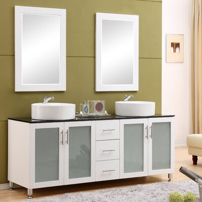 Fraher 72 Double Bathroom Vanity Set with Mirror Base Finish: White