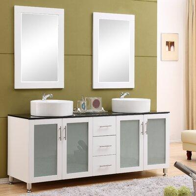 Fraher 72 Double Bathroom Vanity Set with Mirror Base Finish: White