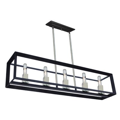 Haught 5-Light Kitchen Island Pendant Finish: Black/Chrome