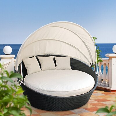 Holden Canopy Outdoor Patio Daybed with Cushion Fabric: White