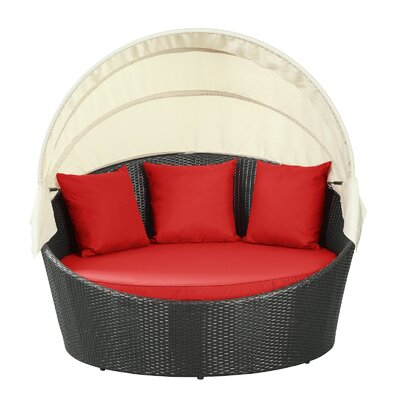 Holden Canopy Outdoor Patio Daybed with Cushions Fabric: Red