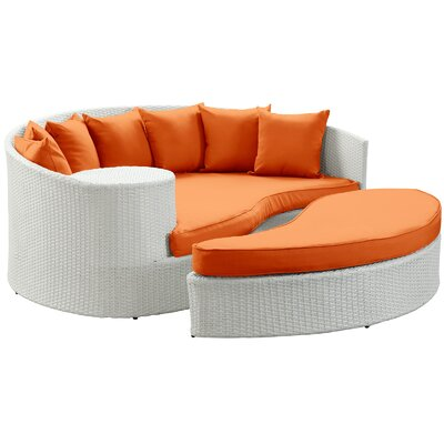 Greening Outdoor Daybed with Ottoman & Cushions Fabric: Orange, Finish: White