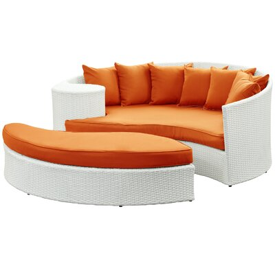 Greening Outdoor Daybed with Ottoman & Cushions Finish: White, Fabric: Orange
