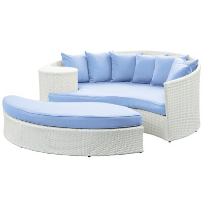 Greening Outdoor Daybed with Ottoman & Cushions Fabric: Light Blue, Finish: White