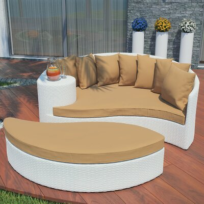 Greening Outdoor Daybed with Ottoman & Cushions Fabric: Mocha, Finish: White