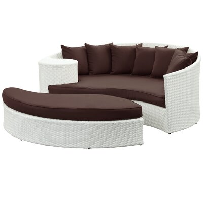 Greening Outdoor Daybed with Ottoman & Cushions Finish: Espresso, Fabric: White