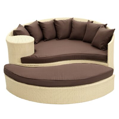 Greening Outdoor Daybed with Ottoman & Cushions Finish: Tan, Fabric: Brown