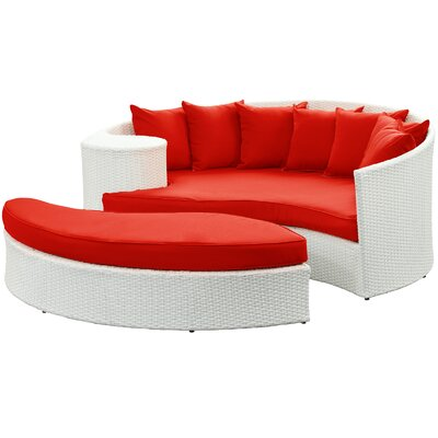Greening Outdoor Daybed with Ottoman & Cushion Fabric: Red, Finish: White