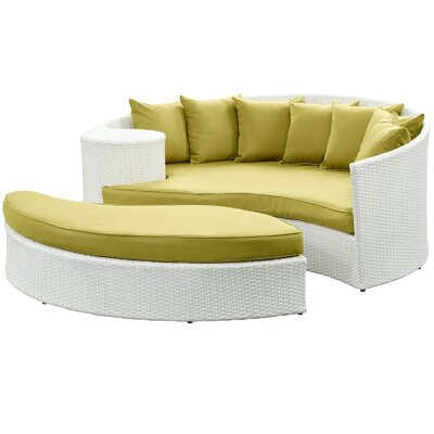 Greening Outdoor Daybed with Ottoman & Cushions Fabric: Peridot, Finish: White