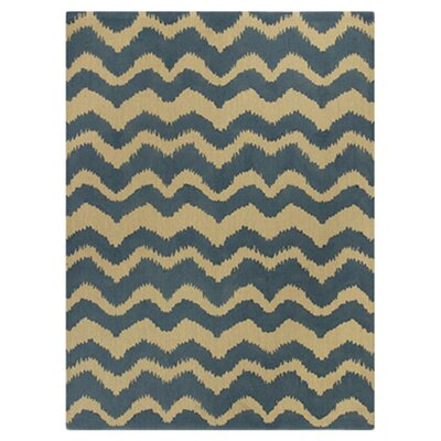 Giunta Blue/Gold Chevron Area Rug Rug Size: 6'6