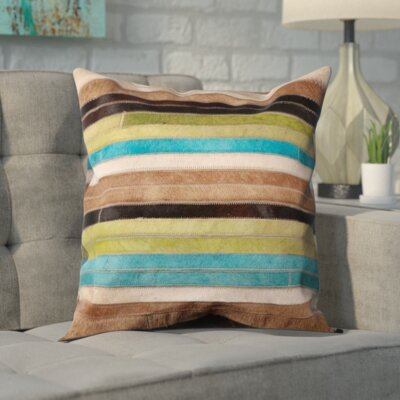 Secaucus Natural Leather Hide Throw Pillow Size: 18 H x 18 W x 0.2 D, Color: Blue/Green
