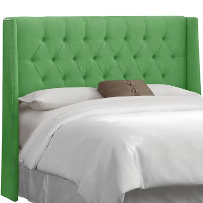Hillenbrand Tufted Linen Upholstered Wingback Headboard Size: Full, Upholstery: Kelly Green