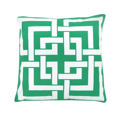 Peluso Geometric 100% Cotton Throw Pillow Color: Green