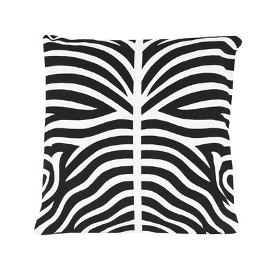 Pena Zebra Striped 100% Cotton Throw Pillow Color: Black