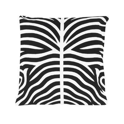 Pena Zebra Striped 100% Cotton Throw Pillow Color: Black