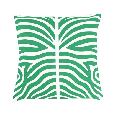 Pena Zebra Striped 100% Cotton Throw Pillow Color: Green