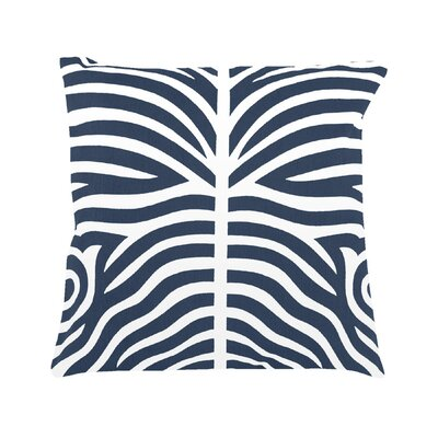 Pena Zebra Striped 100% Cotton Throw Pillow Color: Navy Blue