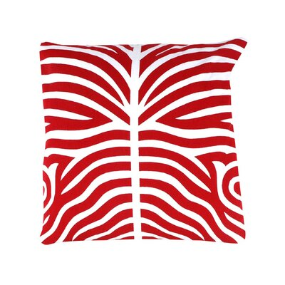 Pena Zebra Striped 100% Cotton Throw Pillow Color: Red