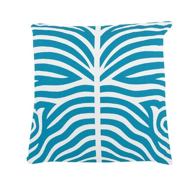 Pena Zebra Striped 100% Cotton Throw Pillow Color: Baby Blue