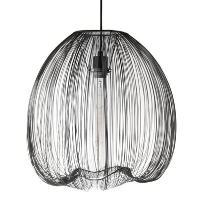 Pennell 1-Light Globe Pendant Lamp Shade Color: Black, Size: 59 H x 17.5 W x 17.5 D