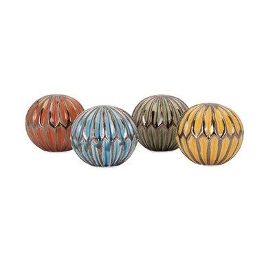 4 Piece Ceramic Decorative Orbs Set