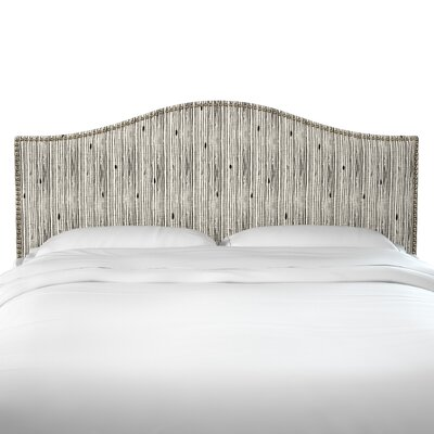 Poyner Shibori Stripe Ink Linen Upholstered Panel Headboard Size: Twin
