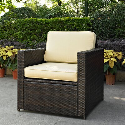 Crosson Outdoor Wicker Deep Seating Chair with Cushion Fabric: Grey