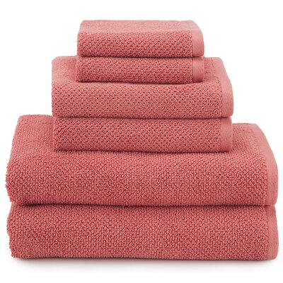 April Textured Organic 6 Piece Towel Set Color: Coral