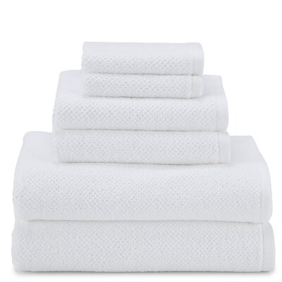 April Textured Organic 6 Piece Towel Set Color: Optical White