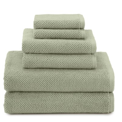 April Textured Organic 6 Piece Towel Set Color: Jade
