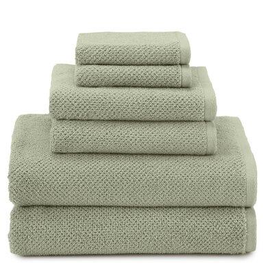 Textured Organic 6 Piece Towel Set Color: Jade