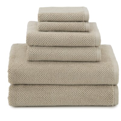 April Textured Organic 6 Piece Towel Set Color: Camel
