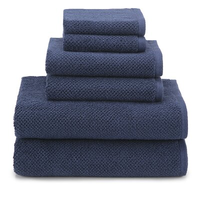 April Textured Organic 6 Piece Towel Set Color: Navy