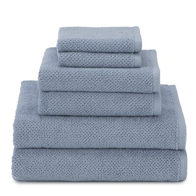 April Textured Organic 6 Piece Towel Set Color: Blue