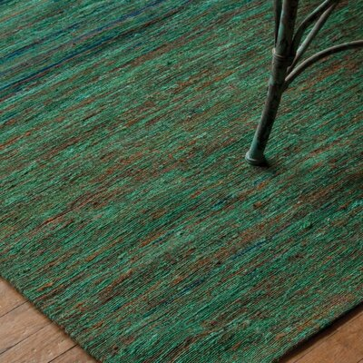 Presswood Hand-Woven Green/Blue Rug