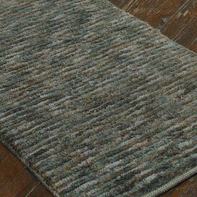 Preece Hand-Knotted Aqua Blue/Brown Area Rug
