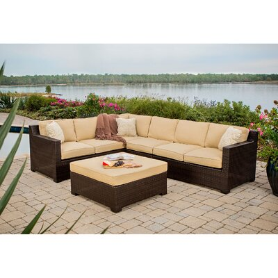 Abraham 5 Piece Lounge Seating Group with Cushions Color: Saraha Sand